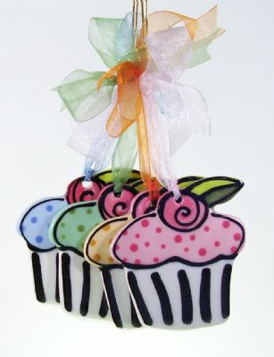 Hand Painted Cupcake Ornament  Item: CC34867