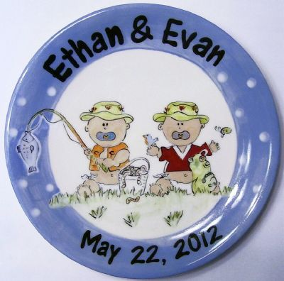 "(2a) 9"" Hand painted twin Baby boys plate Item # CC11014B"