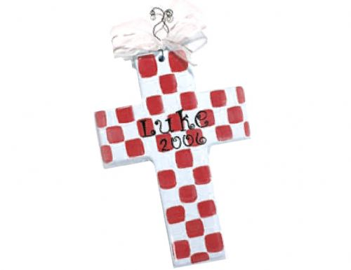 "(L). 10"" Ceramic Cross Checkered (Item: #CC2323R)"