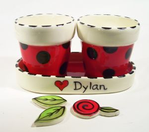 "(a). 4"" Personalized Flower Pot with tray Item:# CC10022"