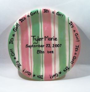 "(8)7.5"" Hand painted Birth Plate Item#(CC497PG)"