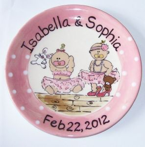 "(2a) 9"" Hand painted twin Baby girls plate Item # CC11013P"