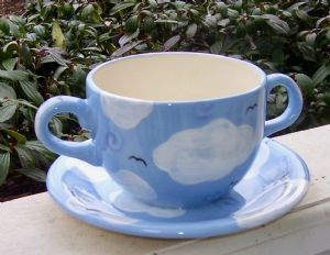 "(2). 5"" Hand painted ceramic cup and saucer bird feeder Item# CC1243cloud"