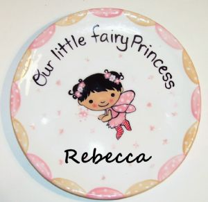 "(9)7.5""Hand Painted Fairy Princess plate (Item#CC0092)"